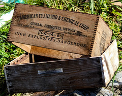 From some old mines (savonnaslessley) Tags: explosive boxes dangerous cyanide relic virginia canoneosrebelt5i canon1555mm3556isstm box wood crate grass