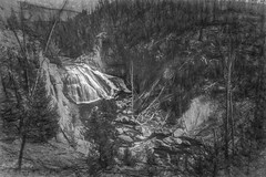 forest waterfall (Pejasar) Tags: waterfall yellowstone wyoming art artistic sketch drawing blackandwhite bw