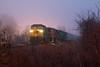 Surreal Scene on the CN (Jake Branson) Tags: train railroad locomotive cn canadian national neoga il illinois fog night dash8 c408w emd prlx gecx sd75m