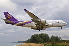 HKT/VTSP: ThaiAir Boeing B747-4D7 HS-TGA (Roland C.) Tags: airport aircraft airplane hkt vtsp phuketairport phuketinternationalairport thailand thaiair dragon cathay thaismile