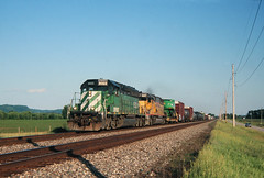 Green, it's not just for combines anymore (view2share) Tags: bnsf8023 nre5067 nrex5067 sd402 sd50 burlingtonnorthernsantafe bnsfrailway bnsf bn burlingtonnorthern up unionpacific stcroixsub buffalocounty cochrane prairiemoon westbound westernwisconsin midwest mississippirivervalley mississippiriver mississippi uppermississippirivervalley uppermississippi emd electromotivedivision locomotive deansauvola 2006 june72006 june2006 summer railway rr railroading railroads railroad rail rails railroaders rring trains track transportation train tracks transport trackage trees freight freightcars freightcar johndeere combine equipment