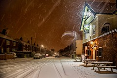 Trent Road Blizzard (Julian Barker) Tags: trent road blizzard beeston rylands nottingham nottinghamshire east midlands england uk europe boat horses pub public house snow winter march tracks falling streaks swirling flakes snowflakes benches cars housing light lights lighting backlighting canon dslr 5d mkii