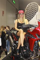 bikeshow Hostess (themax2) Tags: 2017 eicma bike girl high heels hostess legs milano minidress promoter rho tights highheels breast motorcycle miniskirt