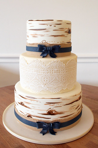 Birch Bark and Lace Wedding Cake