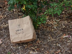 A New Kind of Rubbish (mikecogh) Tags: adelaide parklands rubbish paperbag ubereats leaves twigs disruptive