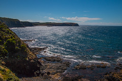 Shining strands (Explored) (Greenstone Girl) Tags: sunshine basalt capeschanck water fffphotowalk clouds blue flinders rocks