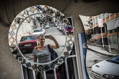 What a nice surprise (Melissa Maples) Tags: istanbul turkey türkiye asia 土耳其 apple iphone iphone6 cameraphone kadıköy acıbadem round circle reflection photographer mirror me melissa maples selfportrait woman brunette purplehair