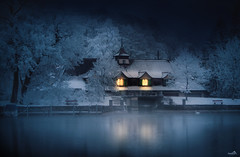 The boathouse (VandenBerge Photography (and we're back again)) Tags: water winter waterscape winterscape switzerland snow night light illuminate thun river aare berneseoberland reflection canon blue boat trees whitefrost ripe season