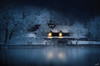 The boathouse (VandenBerge Photography #goneforawhile) Tags: water winter waterscape winterscape switzerland snow night light illuminate thun river aare berneseoberland reflection canon blue boat trees whitefrost ripe season