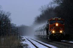 Varnish in the Snow (Jeff Carlson_82) Tags: bnsf burlingtonnorthernsantafe businesstrain officetrain businesscar officecar varnish snow winter tecumseh ks kansas topekasub ge gevo es44c4 6528 powder powdered train railroad railway railfan codeline otopkcm