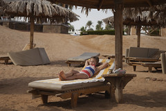 Relaxing (' A r t ') Tags: daybed relax tan palm trees girl swimsuit swim suit suite beach red sand brown young famke