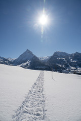 Heimweg (Jo&Ma) Tags: schweiz blau weiss alpen landschaft wolkenlos winterwonderland winterlandschaft verschneit schnee himmel berge gebirge sonne sonnenstrahlen sonnenlicht strahlen outdoor