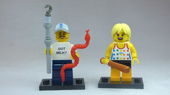 Brick Yourself Custom Lego Figures Happy Snake Handler with Baseball Bat Girl