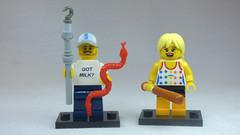 Brick Yourself Custom Lego Figures Happy Snake Handler with Baseball Bat Girl