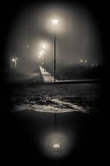 noir reflection (Angelo Petrozza) Tags: noir reflection fog nebbia riflesso lampioni pozzanghera pentaxk70 angelopetrozza blackandwhite biancoenero bw streetphotography strada