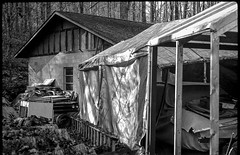 workshop, tarp coverd work space, Billy's Corvair yard, forest, deep shadows, Black Mountain, NC, FED 4, Industar 26, Ilford FP4+, Moersch Eco Film Developer, November 2017 (steve aimone) Tags: workshop tarpcovered workspace corvair woods forest junkyard blackmountain northcarolina fed4 industar26 ilfordfp4 moerschecofilmdeveloper rangefinder 35mm film rural blackandwhite monochrome monochromatic