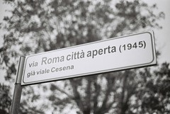 Via Roma Citta Aperta (1945) (goodfella2459) Tags: nikon f4 adox scala 160 35mm blackandwhite film analog via roma citta aperta 1945 sign rome open city cinema street roberto rossellini federico fellini italy bwfp