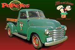 Popeye's Moonshine - Chevy C3100 Pickup (Brad Harding Photography) Tags: tracey missouri plattecountyfairgrounds carshow antique chrome restoration restored truck pickup utility popeye spinach moonshine 1948 chevy chevrolet