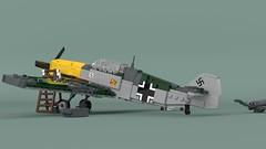 Bf 109 E-3 (Lego Pilot) Tags: lego ldd wwii plane aircraft fighter messerschmitt bf109 e3 emil luftwaffe blender