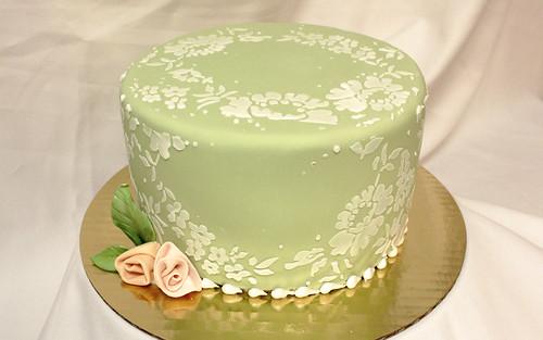 Sage Green Lace Cake