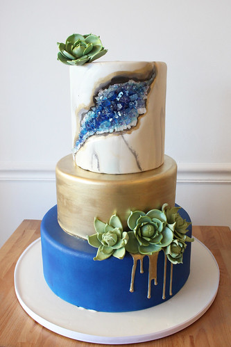 Gold Blue Geode Succulents Wedding Cake