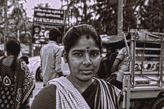 Street portrait (Rajavelu1) Tags: streetphotography candidstreetphotography streetlife streetscenes eyecontact eyes lady lovely art creative india bw blackandwhitestreetphotography