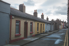 Erne Terrace, Dublin - Remastered old Photos - Film Imitation (Rational_Photography) Tags: dublin erne terrace rear street side pearse station ireland europe walk walking photography candid path people city shop shoppe window wall road hidden alley canada canon slr dslr t2i 550d kiss 5d mark iii digital photo picture lens color colourful house pavement gloomy sunday cloud cover wet car door sky noise faux imitation retro vintage antique hipster old analogue analog film grain wide angle