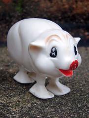 Vintage Pig (The Moog Image Dump) Tags: ramp walker pig piggy vintage toy walking action gravity antique white plastic hand painted
