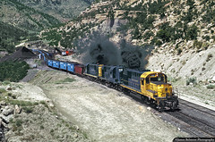 Mohrland Coal Loadout in Ben Johnson Canyon (jamesbelmont) Tags: utahrailway benjohnsoncanyon mohrland unitedstatesfuel utah rockisland alco smoke rsd15 rsd12 railway
