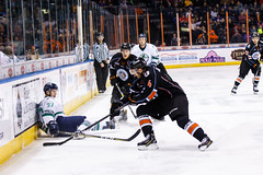 """Kansas City Mavericks vs. Florida Everblades, February 18, 2018, Silverstein Eye Centers Arena, Independence, Missouri.  Photo: © John Howe / Howe Creative Photography, all rights reserved 2018 • <a style=""""font-size:0.8em;"""" href=""""http://www.flickr.com/photos/134016632@N02/40387905521/"""" target=""""_blank"""">View on Flickr</a>"""