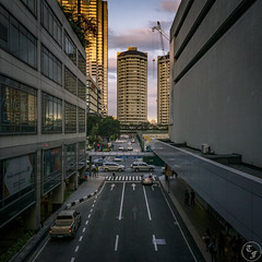 From an Overpass II (Terra Firma Productions) Tags: photography photo landscape building buildings landscapephoto sunset sunsets road roads street streets car cars traffic person persons people cityscape cityscapes sony sonyalpha sonya7 sonya7ii adobe adobephotoshop adobelightroom photoshop lightroom landscapes landscapephotography intersection crossing intersections crossings