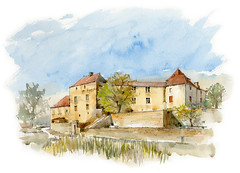 Marsa, Beauregard, Lot, France (Linda Vanysacker - Van den Mooter) Tags: marsa beauregard lot france watercolor watercolour visiblytalented vanysacker vandenmooter tekening sketch schets potlood pencil lindavanysackervandenmooter lindavandenmooter drawing dessin croquis crayon art aquarelle aquarell aquarel akvarell acuarela acquerello kasteel château castle manoir frankrijk