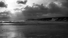Sea (Derwisz) Tags: sea water waves light scarborough southbay cliffs clouds rays blackwhite blackandwhite bw england englandseastcoast yorkshire uk unitedkingdom canon canoneos40d