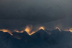 mountains in fire