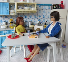 13. Enjoying cocoa and conversation (Foxy Belle) Tags: doll miniature hot cocoa chocolate dollhouse 16 scale playscale barbie food make skipper sisters bend leg brunette dog kitchen diorama blue white delft tin vintage cookies american girl sweater knitting pretty
