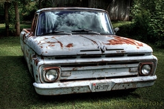 An Oldie Goldie (HTT) (13skies (broke my wrist)) Tags: ford pickuptruck truck hdr highdynamicrange cool old rusted lowrider headlights grill classic photomatix restored done work metal drive vintage canont3i 1961