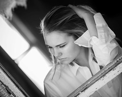 Contemplating life (drhalsteadphotography) Tags: solitude unwanted abandoned window blonde beautiful girl lost teen blackandwhite oldhouse