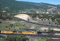 The Fabulous Gilluly Horseshoe (jamesbelmont) Tags: railroad railway ge ac4400cw horseshoe gilluly utah coal hoppers southernpacific unionpacific soldiersummit spanishforkcanyon