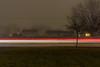 Foggy Light Trails 2 (Alex Wilson Photography) Tags: fog foggy light trail trails long exposure longexposure shutter open street streets road roads generator power generators tree trees greenery green bush bushes flash bright white loud quiet cool