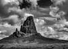 El Capitan-Agathla Peak B&W (keithleblanc323) Tags: utah monumentvalley elcapitan bw clouds stormyday agathlapeak