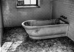 The Bathtub (that_damn_duck) Tags: blackwhite monochrome abandoned urbex urbanexplorer southcarolinamentalhospital hospital tilefloor tub bathtub tile decaying bw blackandwhite