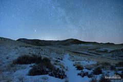 Night Sage (kevin-palmer) Tags: drycreekpetrifiedtree buffalo wyoming night sky stars starry dark space astronomy astrophotography january winter snow snowy cold clear scoriahills grassy nikond750 tamron2470mmf28 trail path blue astrometrydotnet:id=nova2439444 astrometrydotnet:status=failed