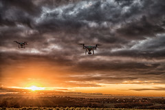 Formation flying against a Liverpool sunset (Steve Samosa Photography) Tags: drones dronecamera drone droneshot droneview aerial aerialview lowangleview rainhill england unitedkingdom gb wintersun sunbeams cloudy clouds merseyside