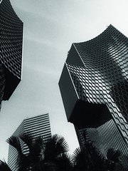 Duo 01 (fionatkinson) Tags: singapore duo modern contemporary black white asia amazing looking up gateway east sky space