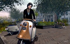 Amsterdam (Second Life Photo Reporter) Tags: bauhausmovement mancave amsterdam scooter bike helmet city avatar mesh sl secondlife street tree travel jacket cardigan etham