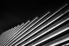Olympic Concrete [bw] (s.W.s.) Tags: montreal quebec canada architecture architectural building blacksky blackandwhite lines urban city lightroom nikon d3300