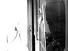 Shared world ... (Klaus Wessel) Tags: olympus lissabon lisboa em10 omd 19mm sigma street streetlife blackwhite bw monochrome durchgang papier wesen figur menschen