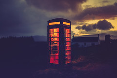 Riiing! Riiing! (der_peste (on/off)) Tags: phonebooth phonebox phone scotland illuminated backlight light nightshot clouds bluehour isleofskye british unitedkingdom color cloudscape sunset sundown