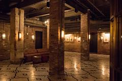 Basement - 5 Beekman St. (UrbanphotoZ) Tags: 5beekmanst basement finished redbrick tile mosaic floor columns sconces sofa ottoman hassock pictures framed birds conduit hvac downtown manhattan newyorkcity newyork nyc ny