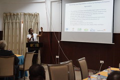 Phyllis Muthoni of World Vision presenting at the ELD Kick-off workshop for the project Economics of Land Degradation in Ghana